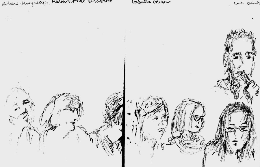 Emma Humphrey's Memorial Prize winner line up (v quick sketch) at Feminism in London conf 2015