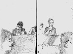 Opening panel getting ready, Shami Chakrabarti, Lisa Alabash, Kate Smurthwaite with heroic Speech-text women in foreground - Feminism in London conf 2015